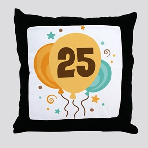 25th Birthday Party Throw Pillow