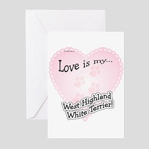 Love is my Westie Greeting Cards (Pk of 10)
