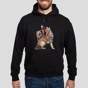 Watercolor Howling Coyotes Animal Art Hoodie