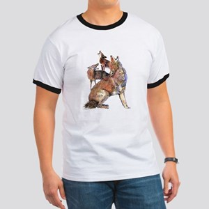 Watercolor Howling Coyotes Animal Art T-Shirt