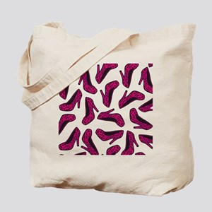 Shoe Lover Fashion Print Hot Pink Leopard Tote Bag