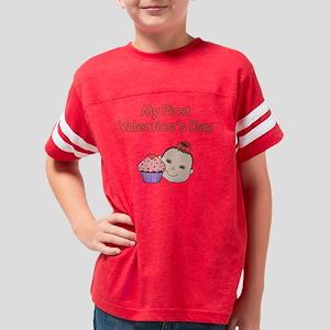 My First Vday Cupcake Lt Skin Youth Football Shirt