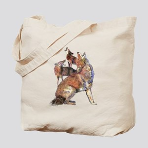 Watercolor Howling Coyotes Animal Art Tote Bag