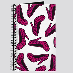 Shoe Lover Fashion Print Hot Pink Leopard Journal