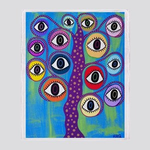 Purple evil eye tree Throw Blanket