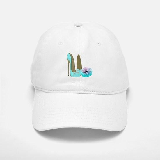 Turquoise Lace Stilettos and Rose Art Baseball Baseball Baseball Cap