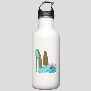 Turquoise Lace Stilettos and Rose Art Water Bottle