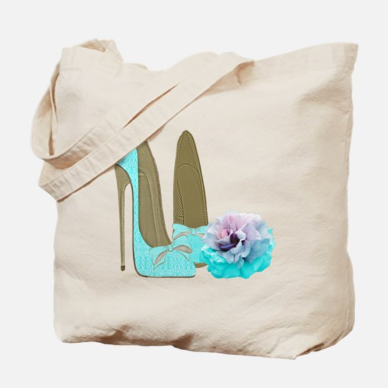 Turquoise Lace Stilettos and Rose Art Tote Bag