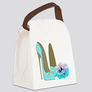 Turquoise Lace Stilettos and Rose Art Canvas Lunch