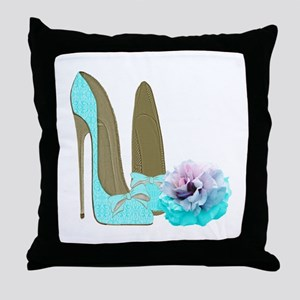Turquoise Lace Stilettos and Rose Art Throw Pillow