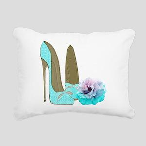 Turquoise Lace Stilettos and Rose Art Rectangular