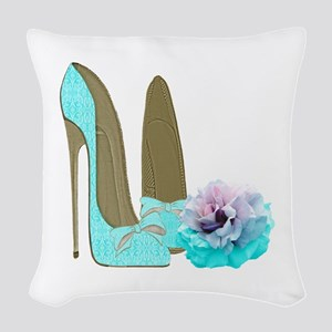 Turquoise Lace Stilettos and Rose Art Woven Throw