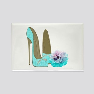 Turquoise Lace Stilettos and Rose Art Magnets