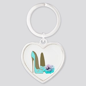 Turquoise Lace Stilettos and Rose Art Keychains