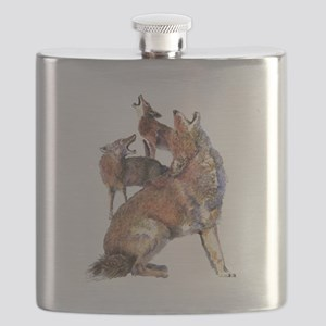 Watercolor Howling Coyotes Animal Art Flask