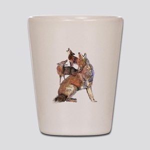 Watercolor Howling Coyotes Animal Art Shot Glass