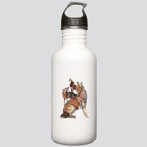 Watercolor Howling Coyotes Animal Art Water Bottle