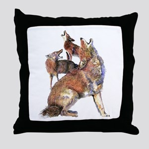 Watercolor Howling Coyotes Animal Art Throw Pillow