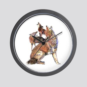 Watercolor Howling Coyotes Animal Art Wall Clock