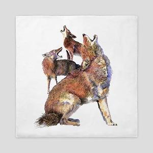Watercolor Howling Coyotes Animal Art Queen Duvet