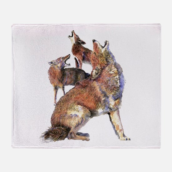 Watercolor Howling Coyotes Animal Art Throw Blanke