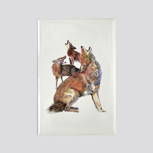 Watercolor Howling Coyotes Animal Art Magnets