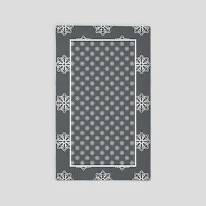 Gray | White Snowflake Pattern 3'x5' Area Rug