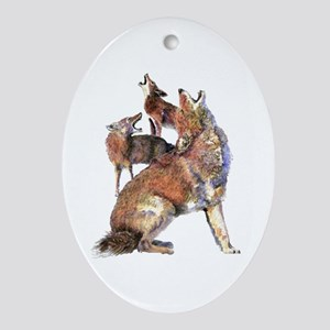 Watercolor Howling Coyotes Animal Art Ornament (Ov