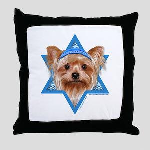Hanukkah Star of David - Yorkie Throw Pillow
