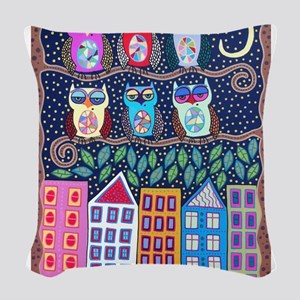 Night Owls Woven Throw Pillow