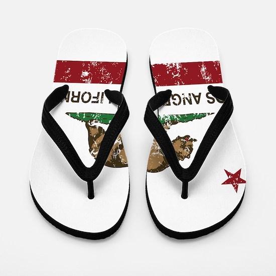 california flag los angeles distressed Flip Flops