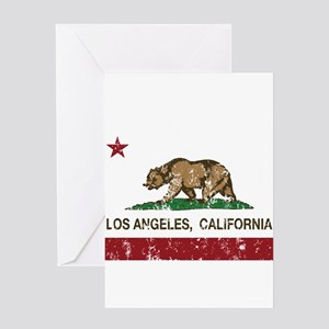 california flag los angeles distressed Greeting Ca