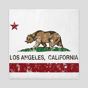 california flag los angeles distressed Queen Duvet