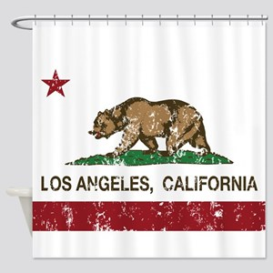 california flag los angeles distressed Shower Curt
