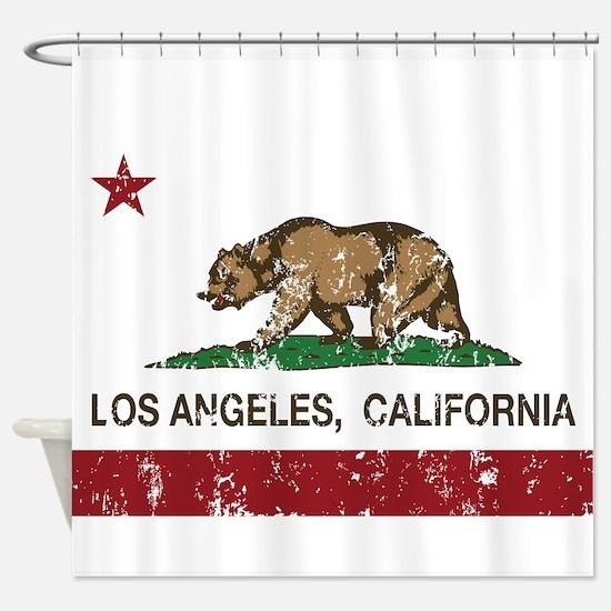 california flag los angeles distressed Shower Curt