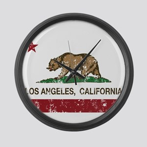 california flag los angeles distressed Large Wall