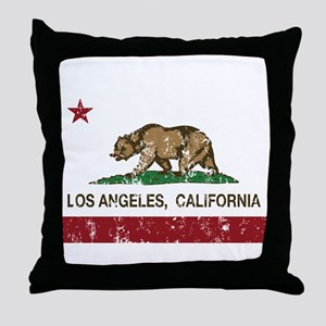 california flag los angeles distressed Throw Pillo