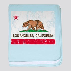 california flag los angeles distressed baby blanke