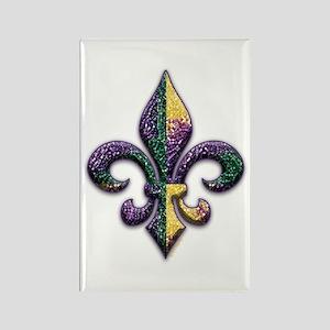 Mardi Gras Beaded Fleur Rectangle Magnet