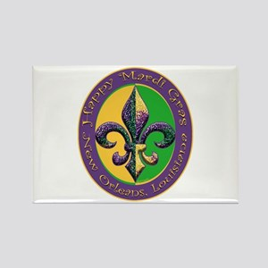 Mardi Gras Beaded Fleur Rectangle Magnet