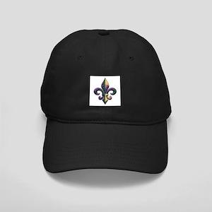 Mardi Gras Beaded Fleur Black Cap