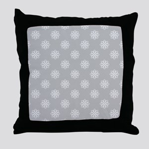 Lt Gray | White Snowflakes Throw Pillow