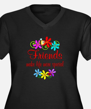 Special Friend Women's Plus Size V-Neck Dark T-Shi