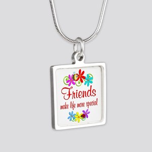 Special Friend Silver Square Necklace