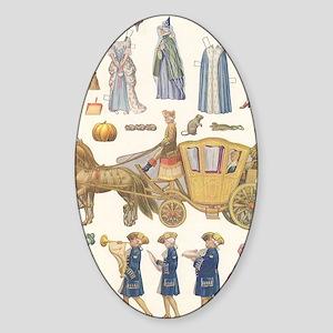 Vintage Cinderella Paper Dolls Sticker (Oval)