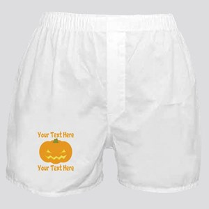 CUSTOM TEXT Jack O Lantern Boxer Shorts