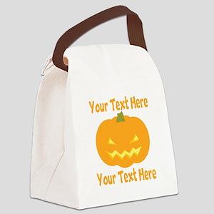 CUSTOM TEXT Jack O Lantern Canvas Lunch Bag