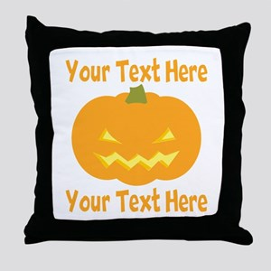 CUSTOM TEXT Jack O Lantern Throw Pillow