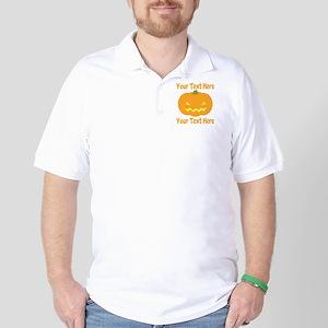 CUSTOM TEXT Jack O Lantern Golf Shirt