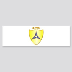 DUI - III Corps with Text Sticker (Bumper)